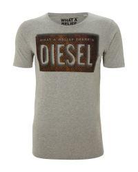 DIESEL Gray Plate Tshirt for men