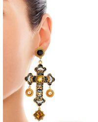 Dolce & Gabbana Metallic Filigree Cross Earrings