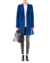 Each x Other Blue Double Breasted Wool Coat