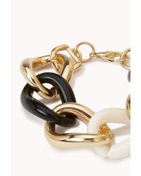 Forever 21 - Metallic Sleek Tritone Curb Chain Bracelet - Lyst