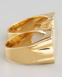 Jennifer Zeuner - Metallic Double-Finger 18K Gold Vermeil Cursive Name Ring - Lyst