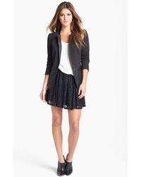 Jessica Simpson | Black Katrina Faux Leather Trim Lace Skirt | Lyst
