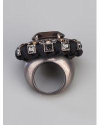 Lanvin Black Gem Stone Ring