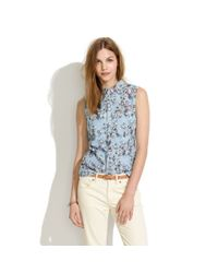 Madewell Multicolor Sleeveless Chambray Shirt in Rose Sketch
