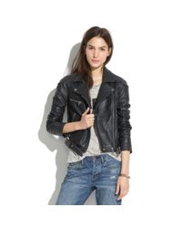 Madewell Black Quilted Leather Jacket