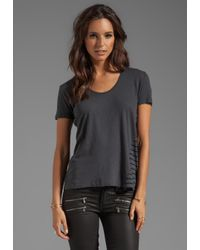 My Line   Gray Franny Loose Scoop Tee W Printed Back in Charcoal   Lyst