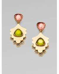 Oscar de la Renta | Green Resin Accented Leaf Drop Earrings | Lyst