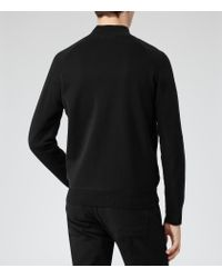 Reiss Black Sonar Zip Up Unstructured Jacket for men