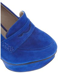 ASOS Shellys London Jurova Platform Blue Heeled Loafer Shoes