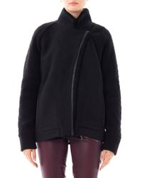 Vanessa Bruno Athé - Black Shearling Collar Wool Jacket - Lyst
