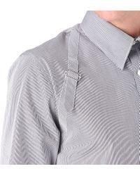 Alexander McQueen White Striped Harness Shirt for men