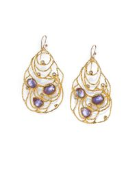 Alexis Bittar Purple Iolite and Mother of Pearl Lace Earrings