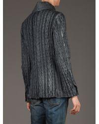 Avant Toi Gray Avant Toi Cable Knit Cardigan for men