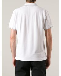 Dior White Dior Contrast Trim Polo Shirt for men
