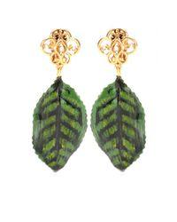 Dolce & Gabbana Green Goldplated Clipon Earrings