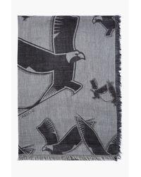 Kris Van Assche - Gray Grey and Black Reversed Eagle Print Scarf for Men - Lyst