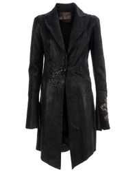 Le Cuir Perdu Black Le Cuir Perdu Distressed Sheepskin Coat