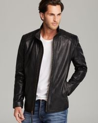 Marc New York Black Quilted Shoulder Leather Jacket for men
