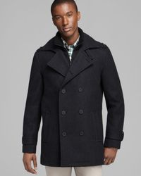 Marc New York Gray Penn Pressed Wool Double Breasted Peacoat for men