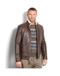 Marc New York Brown Nathan Rugged Lamb Leather Shearling Collar Aviator for men