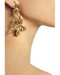 Oscar de la Renta Metallic Gold Plated Oak Leaf Clip Earrings