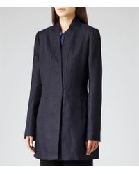 Reiss Blue Delaney Textured Textured Fitted Coat