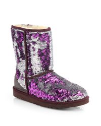 UGG Classic Short Sparkle Boots in Purple - Lyst