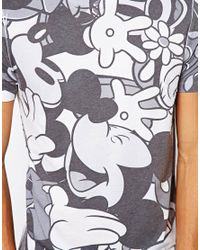 ASOS Gray Tshirt with All Over Mickey Mouse Print for men