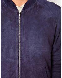ASOS Blue Suede Bomber Jacket for men