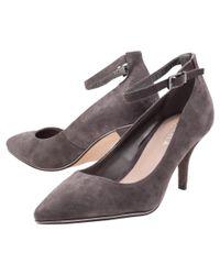 Carvela Kurt Geiger Gray Atom Ankle Buckle Kitten Heel Court Shoes
