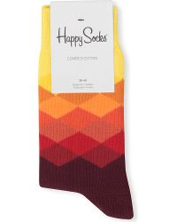 Happy Socks Yellow Faded Diamond Socks
