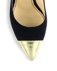 Jerome C. Rousseau - Black Flicker Suede Metallic Leather Captoe Pumps - Lyst