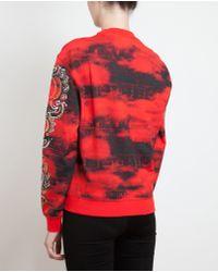 KENZO Red Lotus Eye Cotton Sweatshirt