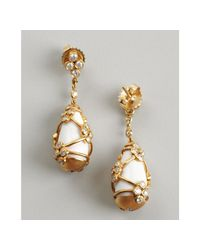 Kwiat - Yellow Diamond and White Stone Capsule Teardrop Earrings - Lyst
