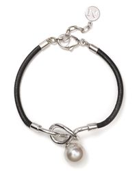 Majorica | Black Manmade Pearl Leather Cord Bracelet | Lyst