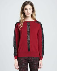 Nanette Lepore   Red Oui Oui Sheerinset Pullover   Lyst