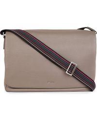 Paul Smith Gray City Webbing Leather Messenger Bag for men