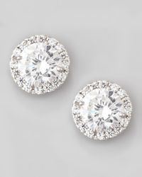 Fantasia by Deserio White Pave Cubic Zirconia Stud Earrings