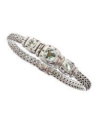 John Hardy | Metallic Silver Batu Kali Green Amethyst Bracelet | Lyst