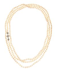 Lagos - Metallic Basket Clasp Long Pearl Necklace - Lyst