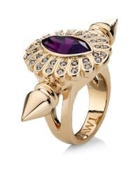 Mawi - Purple Oval Crystal Double Spiked Ring - Lyst