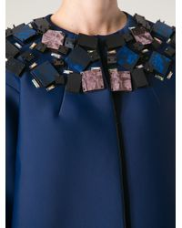 MSGM Blue Embellished Neoprene Coat