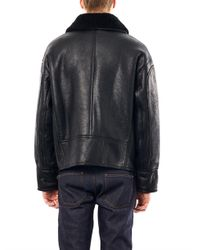 AMI Black Leather and Shearling Aviator Jacket for men