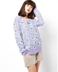 ASOS Purple Boutique By Jaeger Knitted Mohair Sweater in Leopard Print