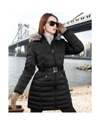DKNY Black Faux Fur Trim Hooded Belted Puffer
