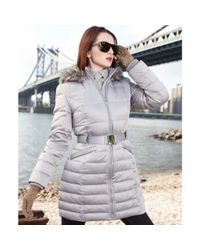 DKNY Gray Hooded Belted Puffer