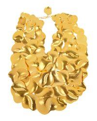 Herve Van Der Straeten | Metallic Hammered Gold Plated Bib Necklace | Lyst