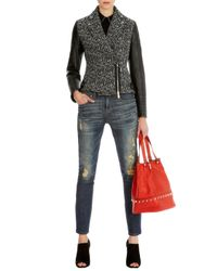 Karen Millen Black Tweed Biker Jacket