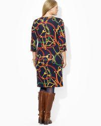 Ralph Lauren - Blue Loxlynn Dress with Button Shoulder - Lyst