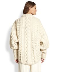 The Row | White Wool Cashmere Cableknit Blouson Sweater | Lyst